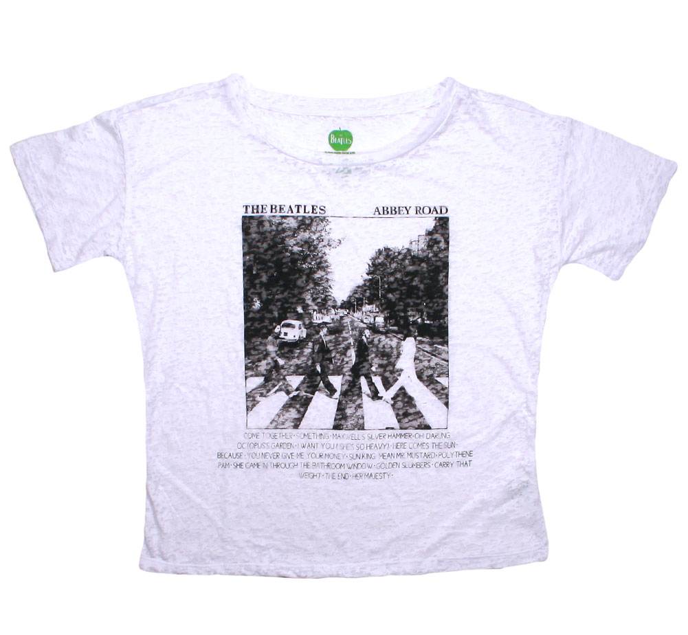 The Beatles / Abbey Road Burnout Tee (White) (Womens)