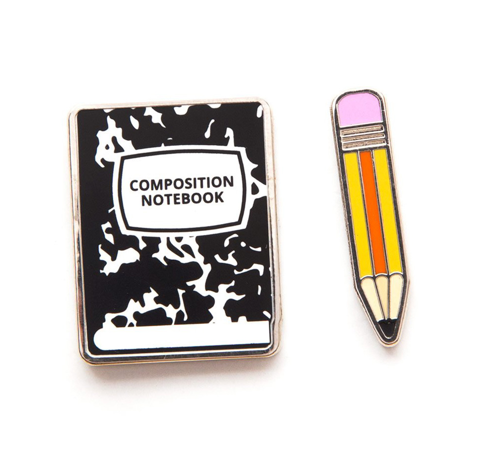 [Out of Print] Composition Notebook and Pencil Enamel Pin Set