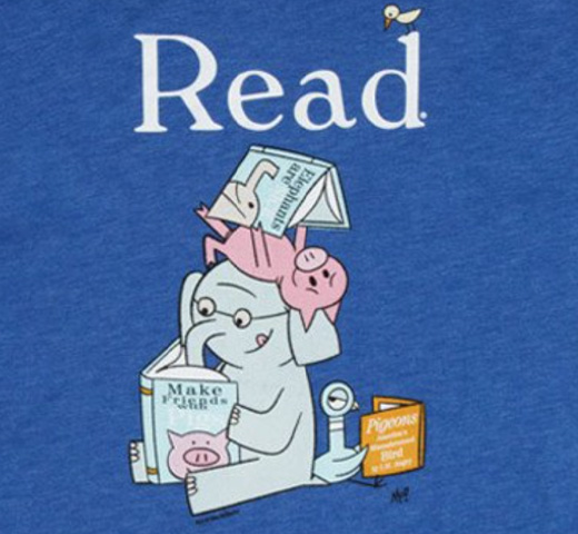 【Out of Print】 Mo Willems / Read with Elephant & Piggie, and The Pigeon Tee (Royal Blue)