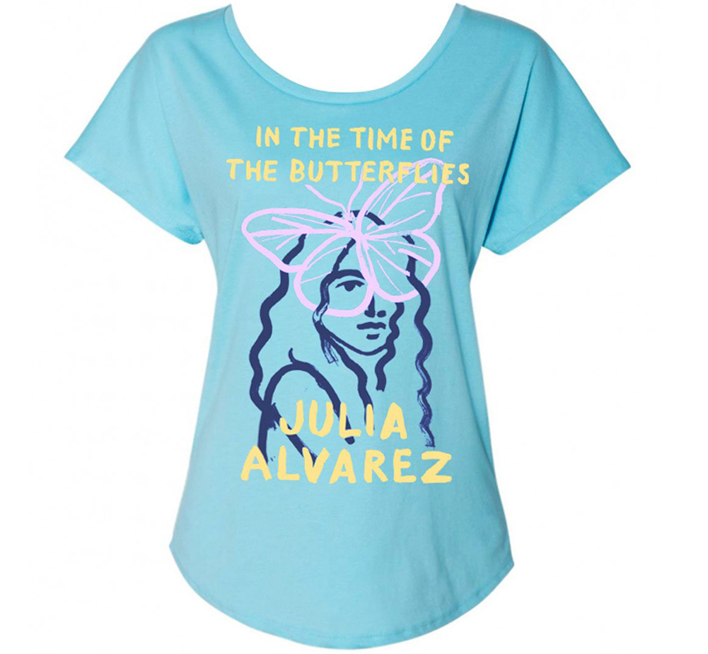 [Out of Print] Julia Alvarez / In the Time of the Butterflies Womens Relaxed Fit Tee (Light Blue)