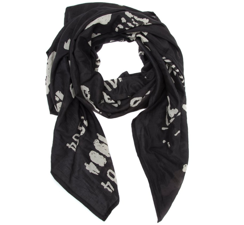 【Out of Print】 Library Stamp Lightweight Scarf (Black)