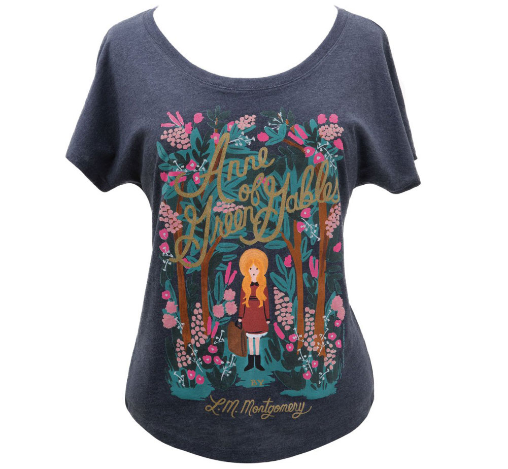 [Out of Print] L. M. Montgomery / Anne of Green Gables Relaxed Fit Tee [Puffin in Bloom] (Vintage Navy) (Womens)