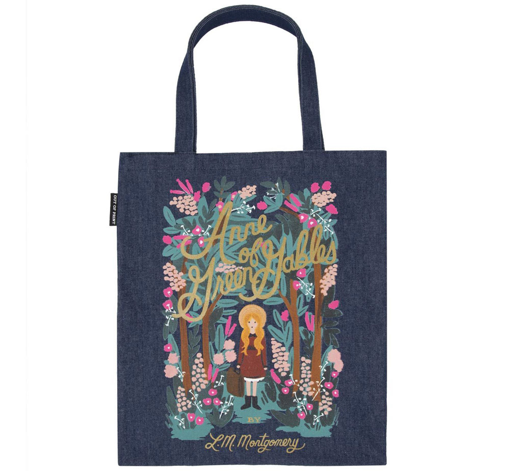 [Out of Print] L. M. Montgomery / Anne of Green Gables Tote Bag [Puffin in Bloom] (Dark Blue Denim)