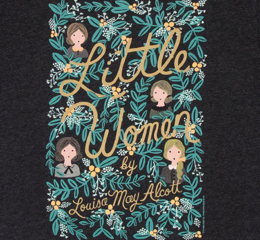 [Out of Print] Louisa May Alcott / Little Women Tee [Puffin in Bloom] (Vintage Black)