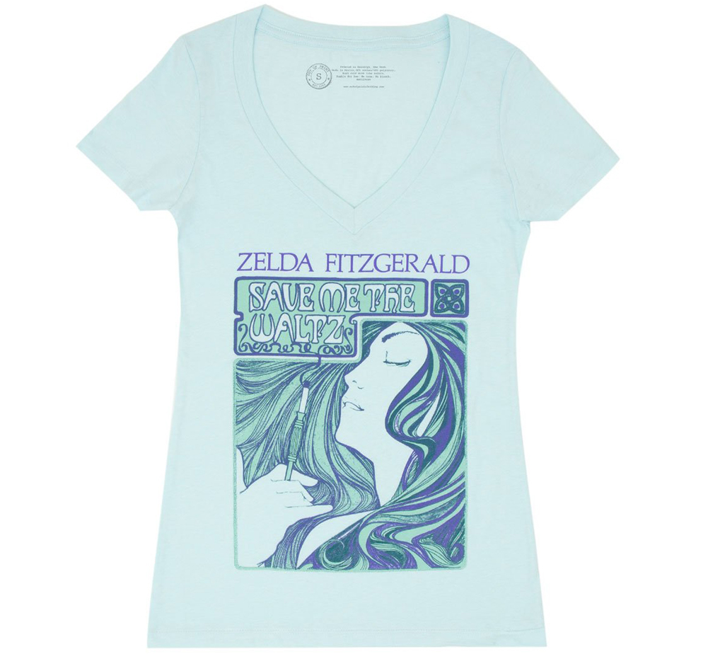 [Out of Print] Zelda Sayre Fitzgerald / Save Me the Waltz Womens V-Neck Tee (Ice Blue)