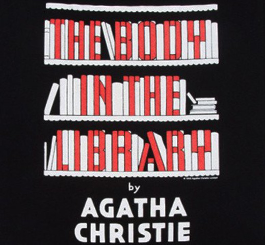 【Out of Print】 Agatha Christie / The Body in the Library Scoop Neck Tee (Black) (Womens)
